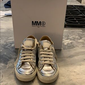 MM6 silver sneakers 38